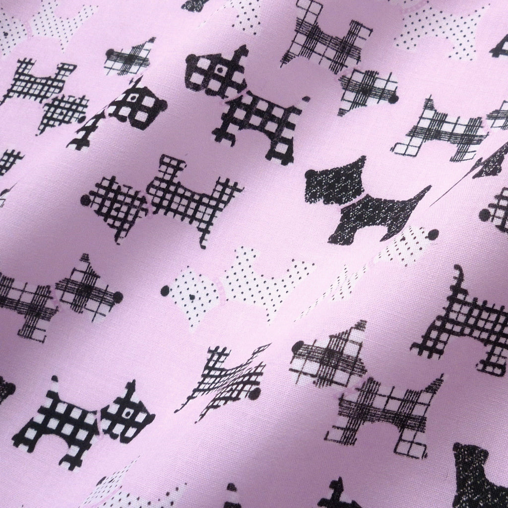 Printed Polycotton Fabric with Black & White Scottie Dogs - Various Colours (Per Metre)
