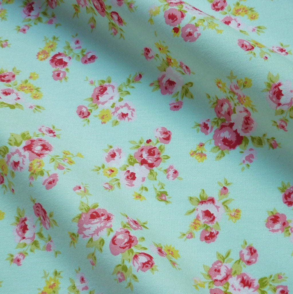 Pink Floral Design Printed 100% Poplin Cotton Fabric - Various Colours (Per Metre)