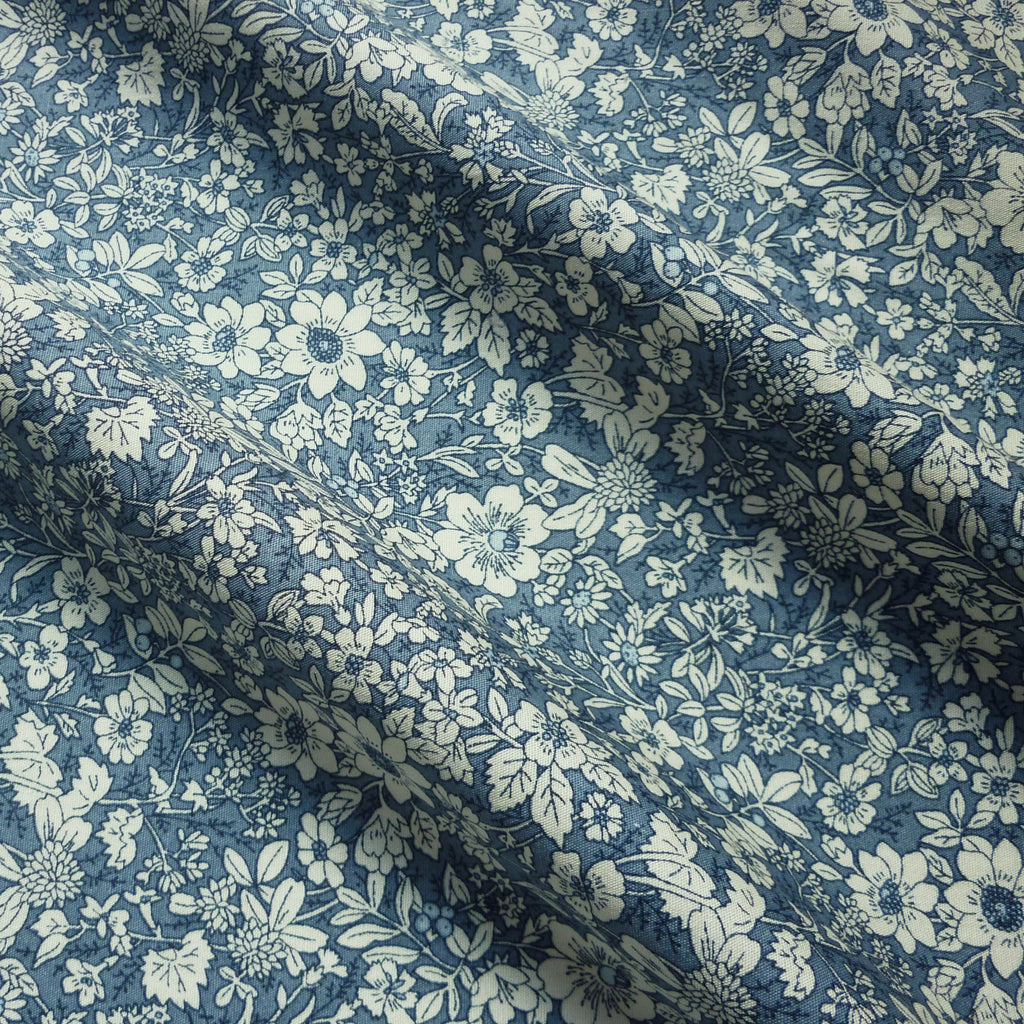 Printed 100% Poplin Cotton Fabric withCream & Pale Blue Meadow Print (Per Metre)