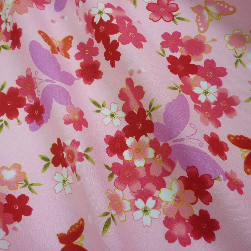 Butterly and Floral Printed 100% Poplin Cotton Fabric - Various Colours (Per Metre)