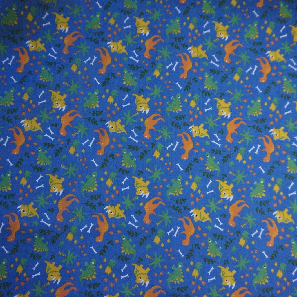 Royal Blue Polycotton Fabric with Dinosaurs (Per Metre)