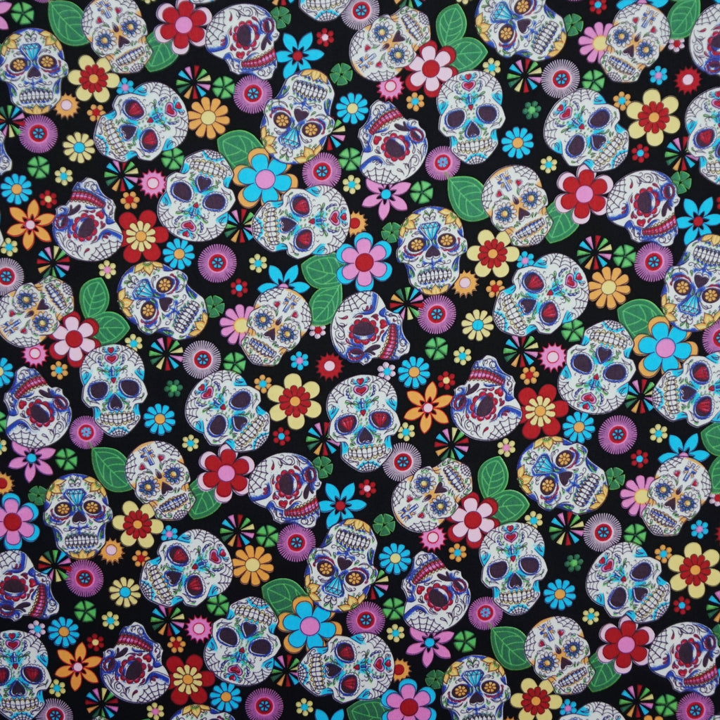 Black 100% Cotton Poplin Fabric with Sugar Skulls (Per Metre)