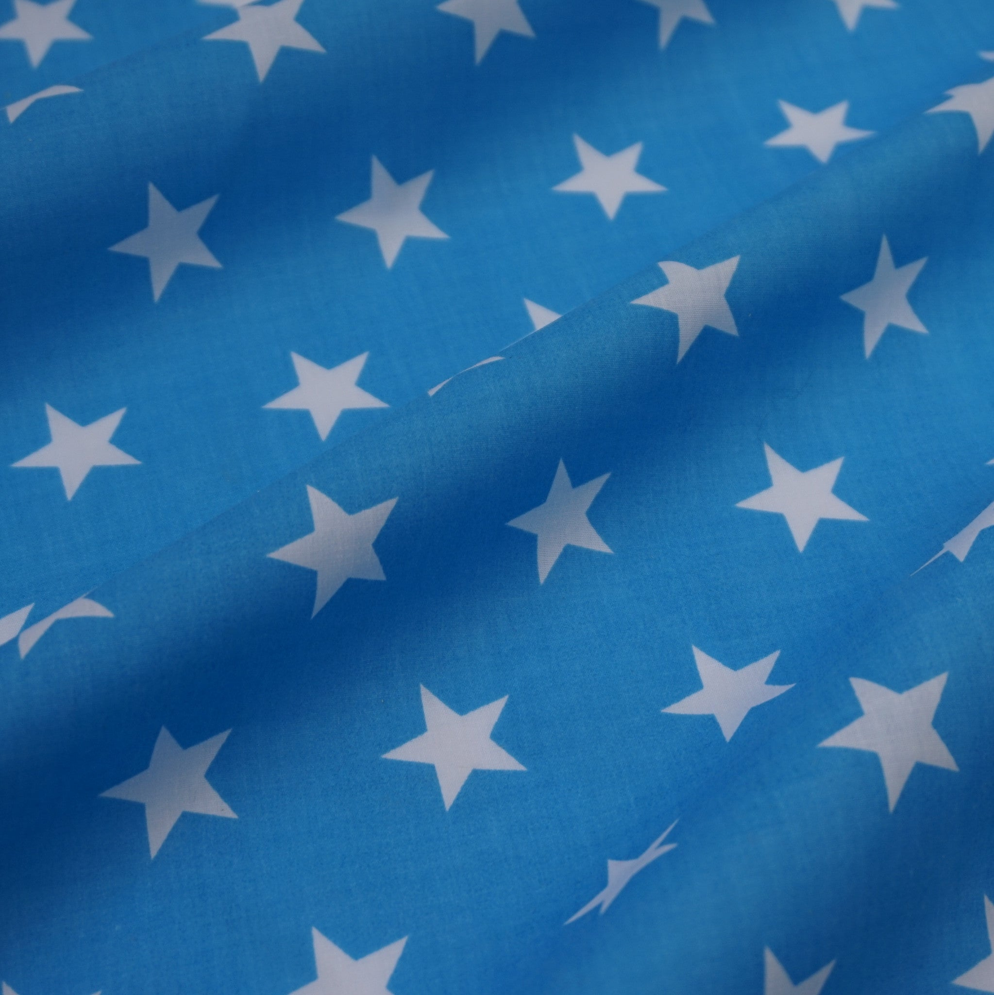 PolyCotton Navy Blue With Stars Craft Fabric By The Metre