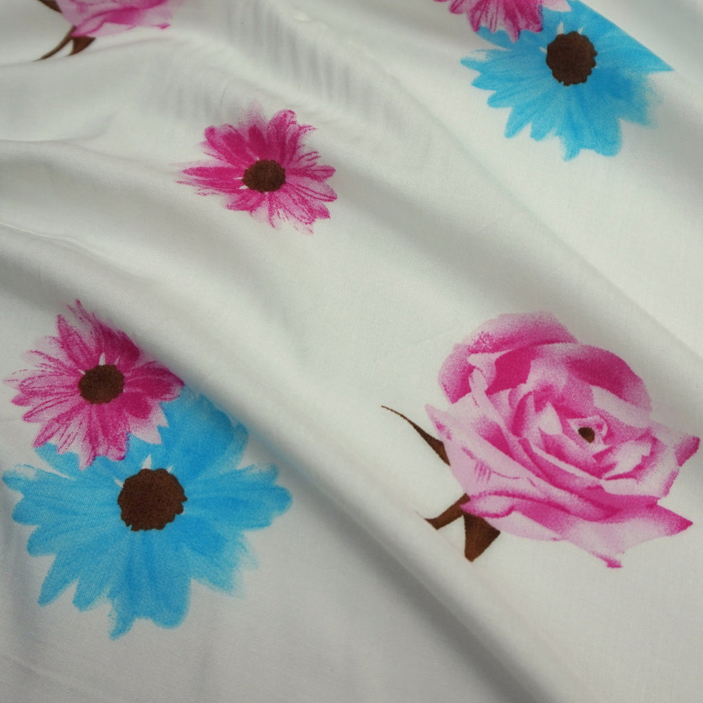 Ivory 100 % Viscose Fabric with Pink & Blue Roses & Daisies Print (Per Metre)