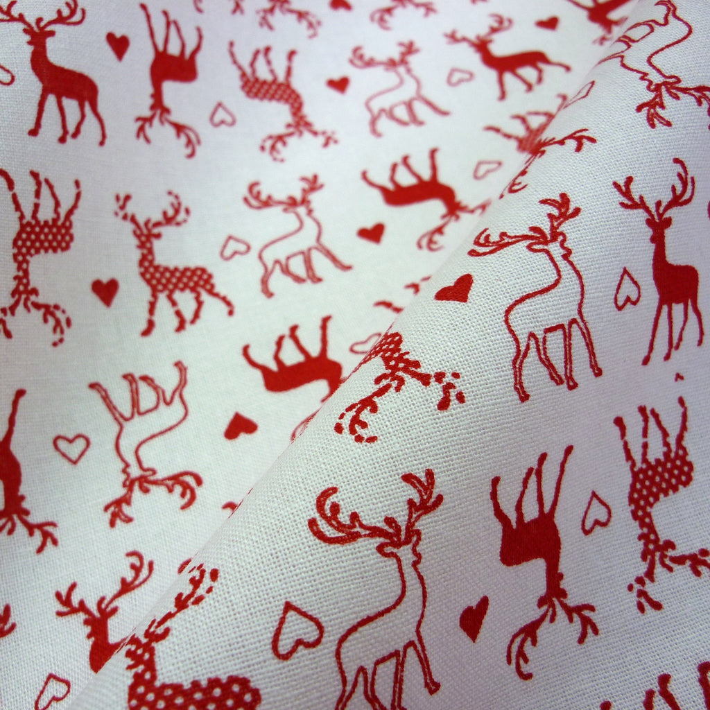 100% Craft Cotton with Reindeer & Hearts Print - Various Colours (Per Metre)