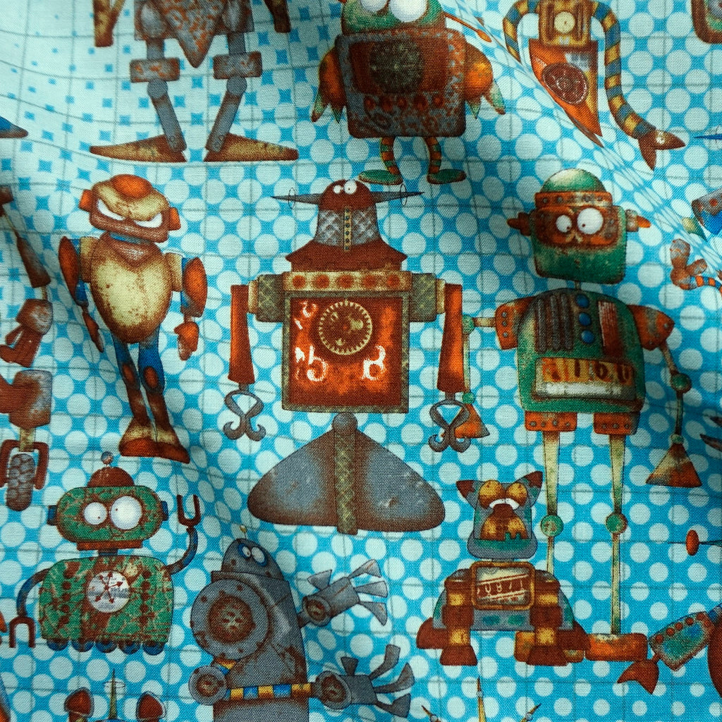 Patterned Grid 100% Cotton Fabric with Rusty Robots Print - 2 Colours (Per Metre)