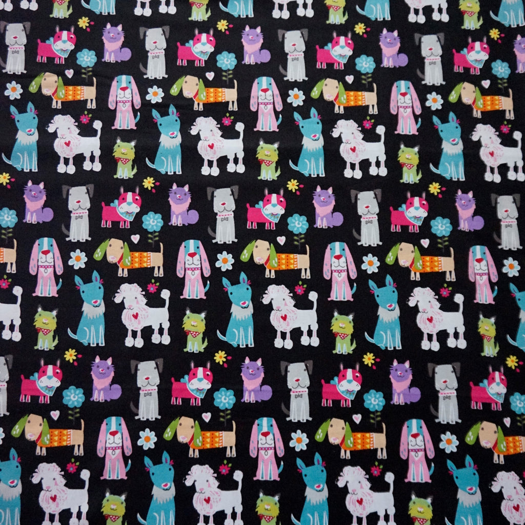Black 100% Cotton Fabric with Puppies (Per Metre)
