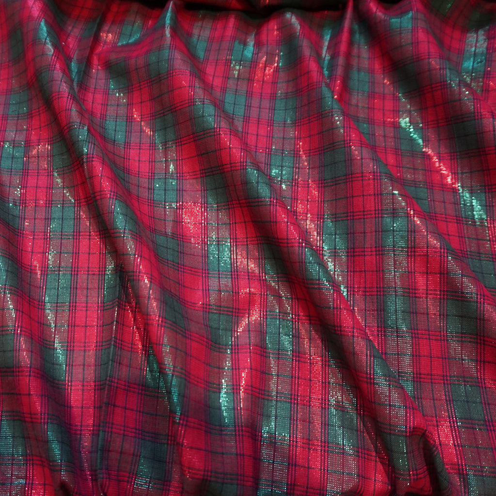 Lurex Cotton Fabric Christmas Tartan (Per Metre)  - Various Colours