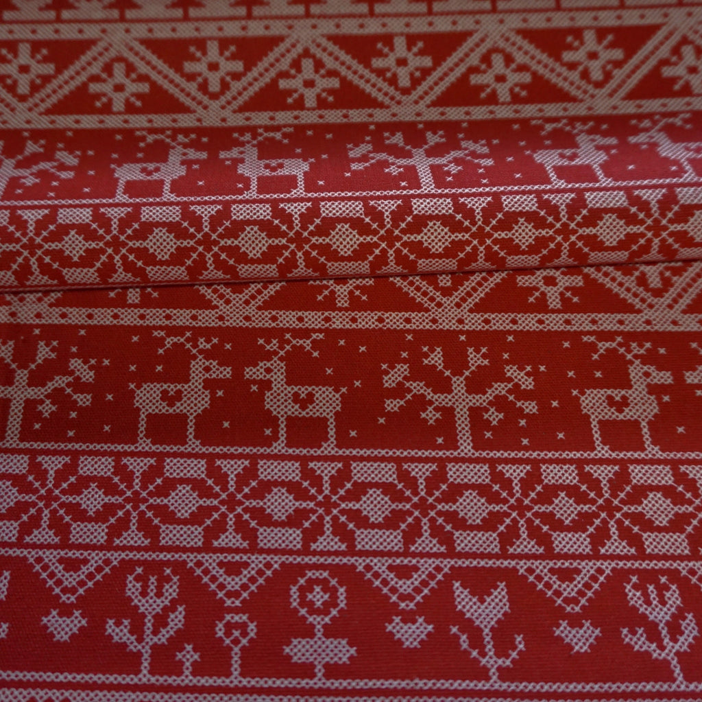 Linen Look 100% Cotton Fabric Christmas Fairisle design - Various Colours (Per Metre)