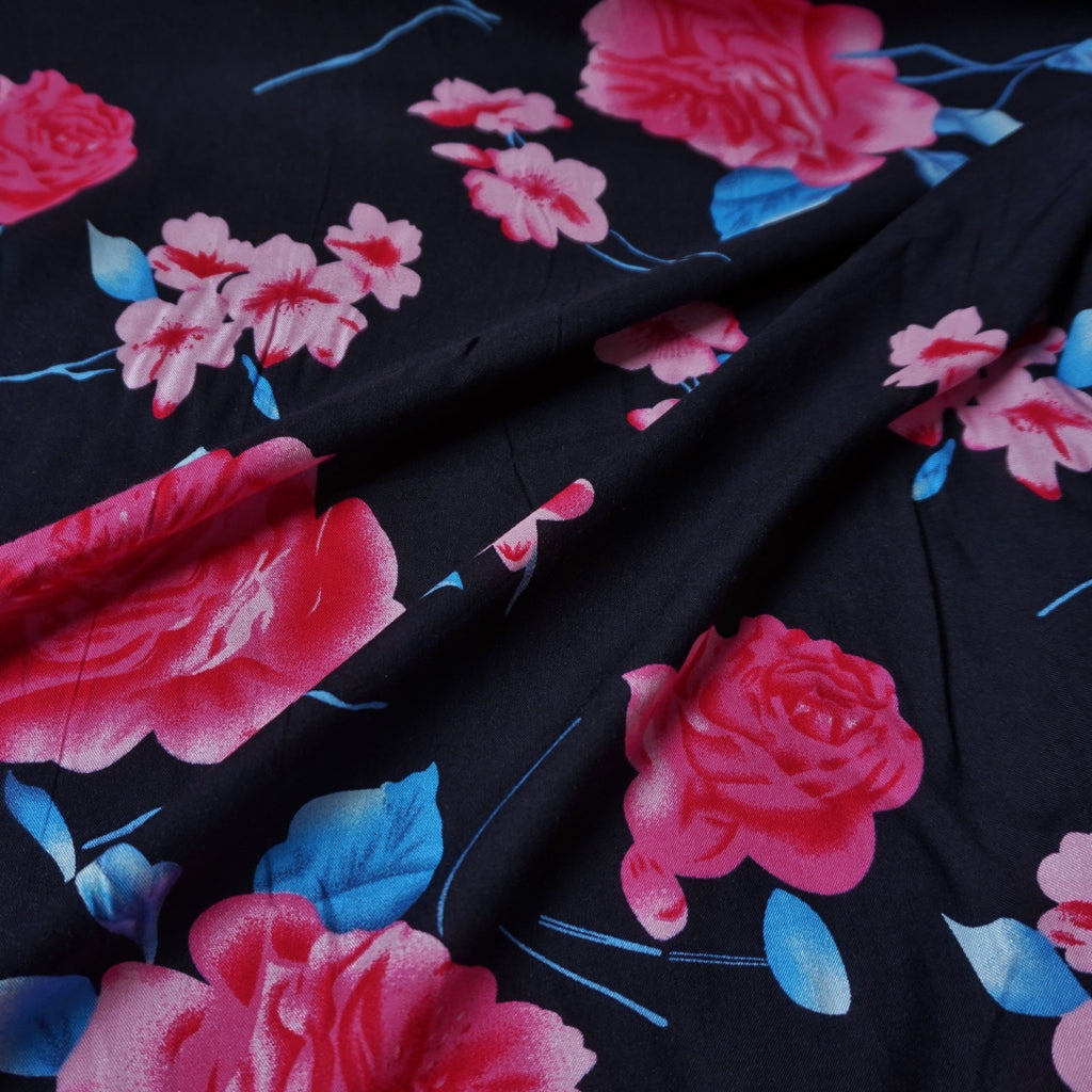 Navy 100% Viscose fabric with Pink Rose Design (Per Metre)