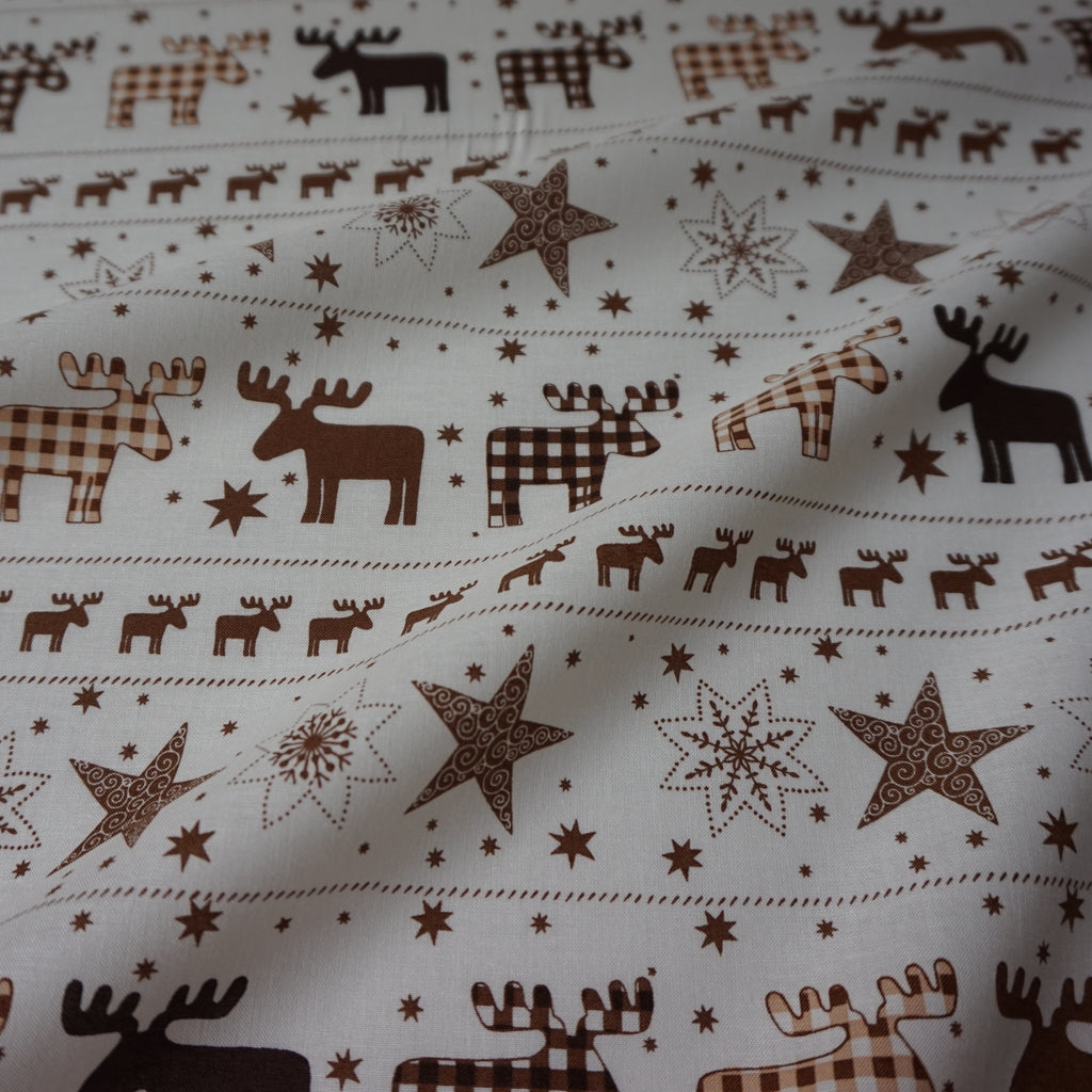Cream 100% Cotton fabric With Reindeer Fairisle – Various Colours (Per Metre)