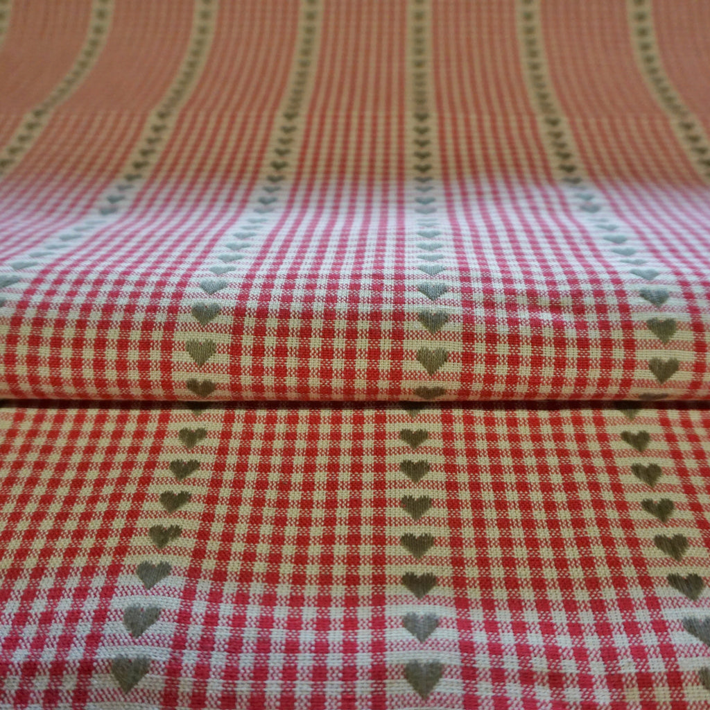 Cream 100% Cotton Dobby Fabric With Heart Pattern - Various Colours (Per Metre)
