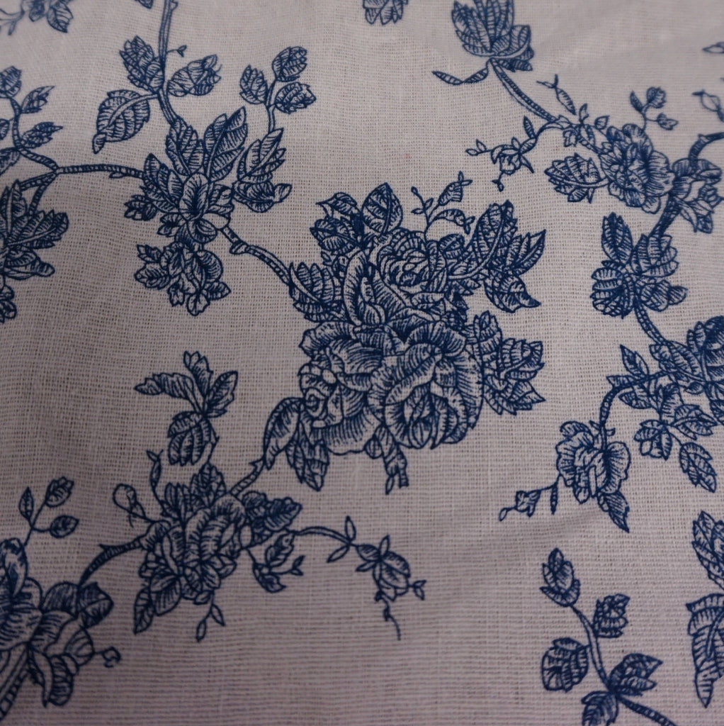 Cream Linen Blend Canvas Fabric with Blue Roses Design (Per Metre)