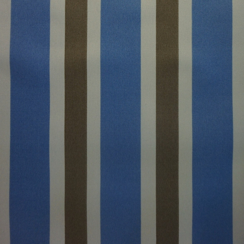 Blue, Ivory and Beige Striped Water Resistant Polyester Canvas Fabric (Per Metre)