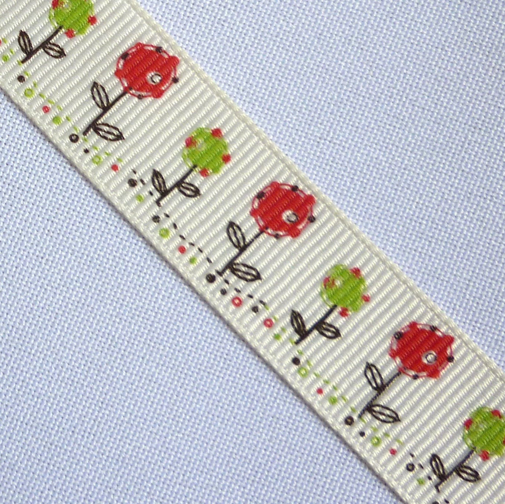 Cream Grosgrain 16 mm Ribbon with Red Flower Design (Per Metre)