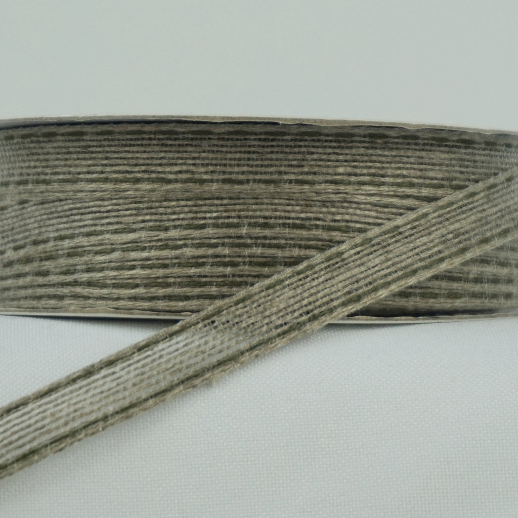 Stitched Edge 10mm Hessian Ribbon - Various Colours (Per Metre)