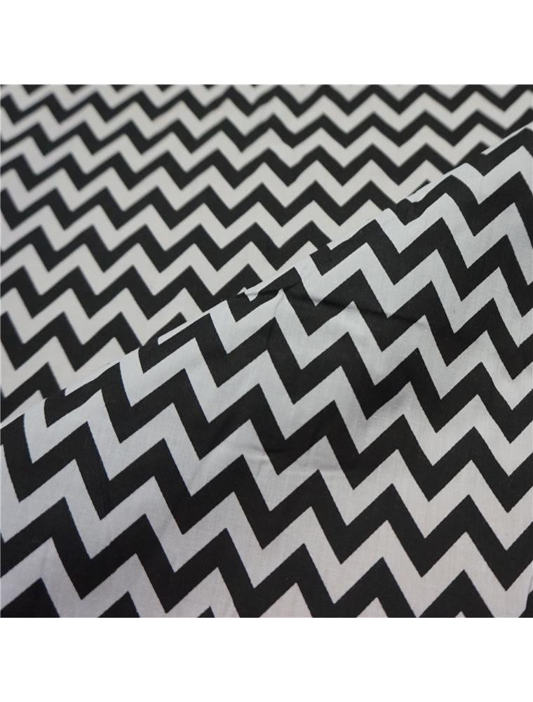 White Polycotton Fabric with Zig Zag Chevron Print - 4 Colours (Per Metre)
