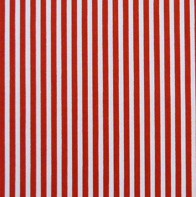 White & Red 3mm Stripe Polycotton Fabric (Per Metre)