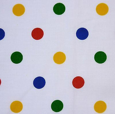 White Polycotton with Multi Primary 19 mm Medium Spot Fabric (Per Metre)