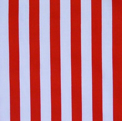 Red & White 11mm Stripe Polycotton Fabric (Per Metre)