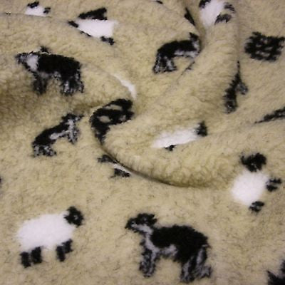 Cream Sherpa Fleece Fabric with Sheep and Sheepdog (Per Metre)