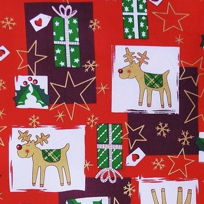Red Polycotton with Funky Reindeer & Gold Star Snowflake Print Fabric (Per Metre)