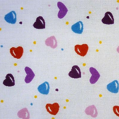 White Cotton Red Blue Pink Purple Hearts Dots Fabric (Per Metre)