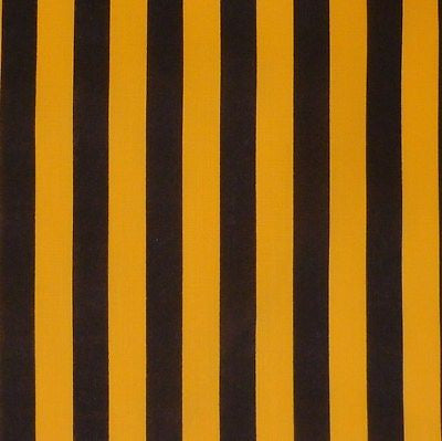 Black & Yellow Stripe Polycotton Fabric (Per Metre)