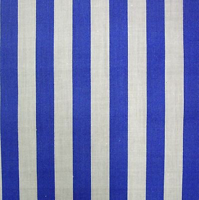Mid Blue Polycotton White 13mm Stripe Fabric (Per Metre)