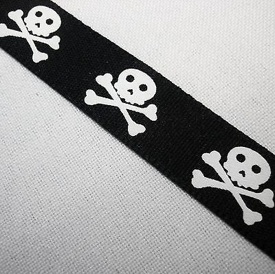 Black Polyester 15mm Ribbon with White Skulls (Per Metre)