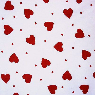 White 100% Poplin Cotton Fabric with Red Hearts and Dots (Per Metre)