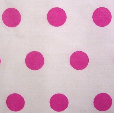 White Poly Cotton with Pink Spot Polka Dot Fabric (Per Metre)