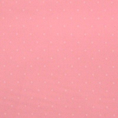 Baby Pink Polycotton Fabric with Small White Polka Dots (Per Metre)