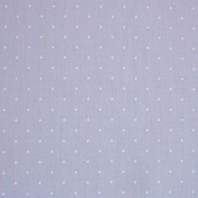 Pastel Blue Polycotton SML White Polka Dot Fabric (Per Metre)