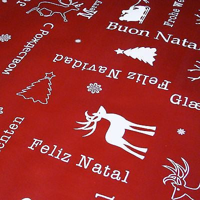 "Oxblood Red ""Joy of Noel"" Christmas Themed Tablecloth PVC (Per Metre)"