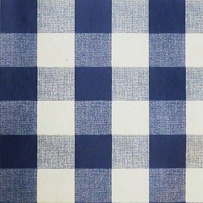 "Navy Blue White PVC Tablecloth Oilcloth 1"" Gingham Fabric (Per Metre)"
