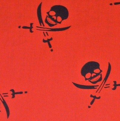 Red Polycotton with LRG Black Skulls Swords Fabric (Per Metre)