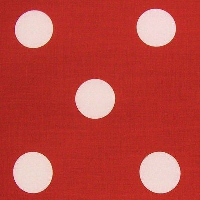 Red Polycotton Fabric with White LRG Spot Fabric Minnie Mouse (Per Metre)