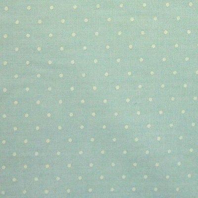 Pastel Mint Green Polycotton SML White Polka Dot Fabric (Per Metre)