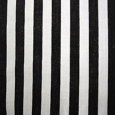 Black White Polycotton Stripe Fabric (Per Metre)
