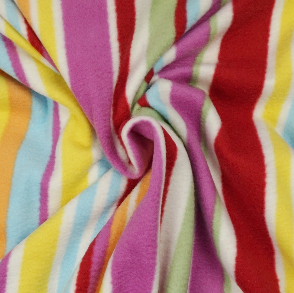 Multicoloured Stripe Print Anti Pill Fleece Fabric (Per Metre)