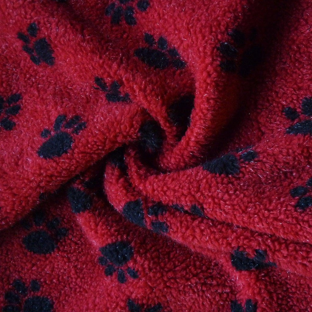 Paw Printed Sherpa Fleece Fabric (Per Metre)