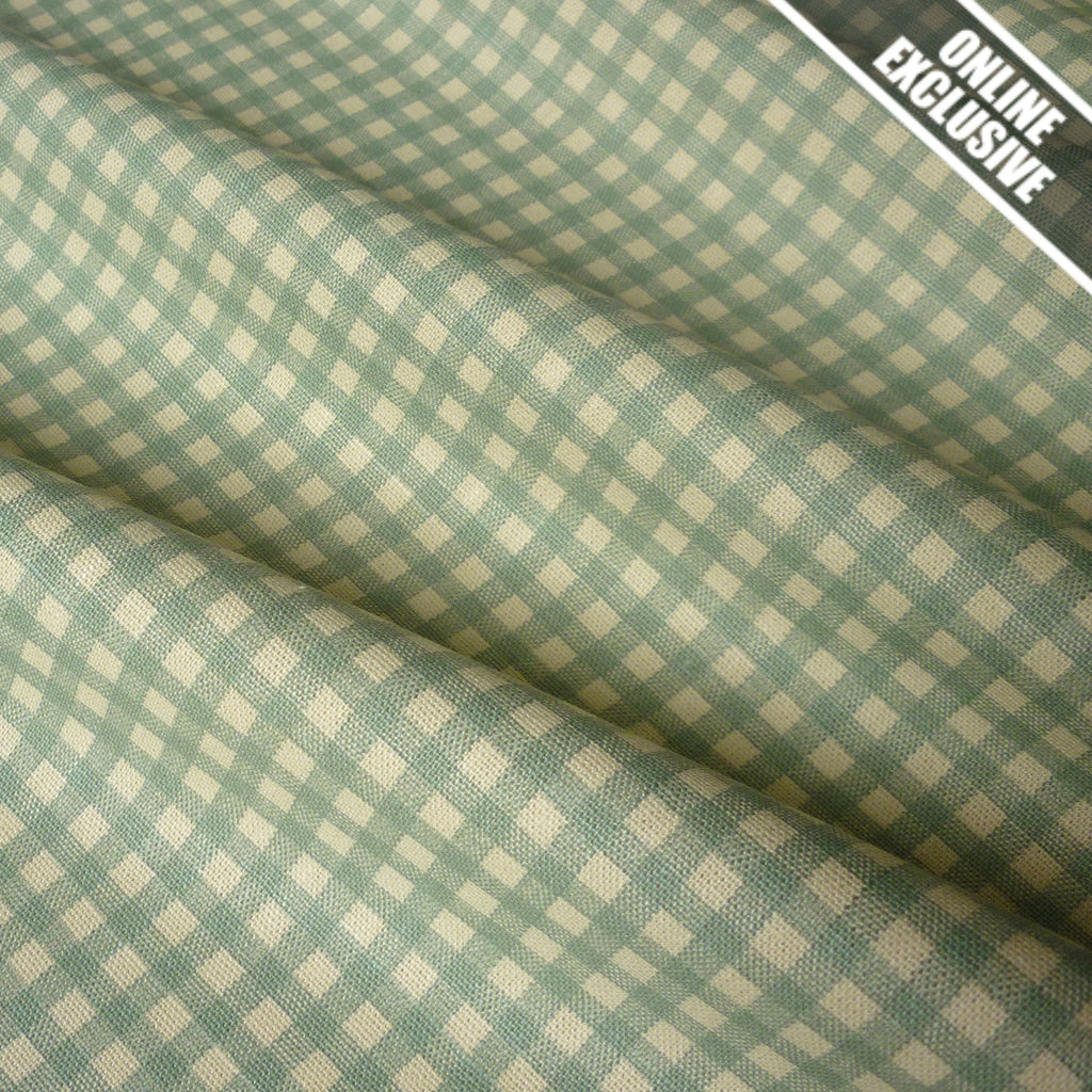 Cottage Collection Cream 5mm Gingham Linen Look 100% Cotton Fabric (Per Metre)