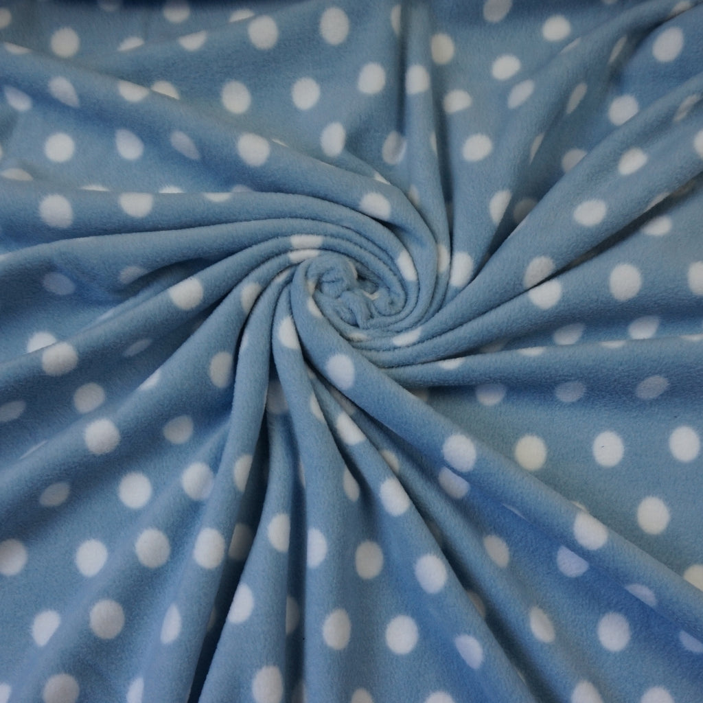Anti Pill Polar Fleece Fabric with White Spots - Various Colours (Per Metre)