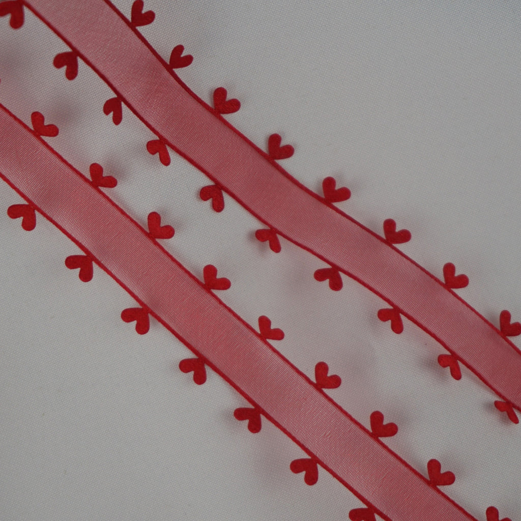 Heart Edged 25mm Organza Ribbon -Various Colours (Per Metre)