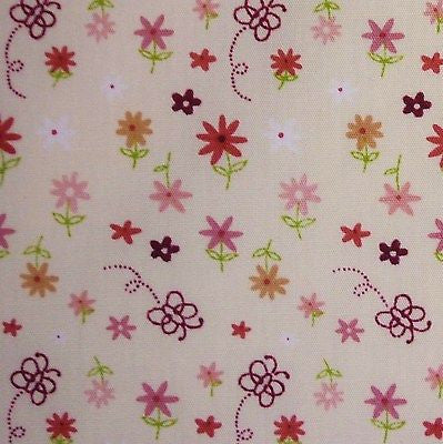 Cream 100% Cotton Small Flowers & Butterflies Fabric (Per Metre)