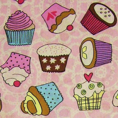 Candy Pink & White Patterned 100% Cotton Fabric with Multi Cupcakes (Per Metre)