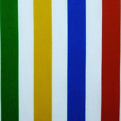 White & Bright Multi 15 mm Primary Stripe Polycotton Fabric  (Per Metre)