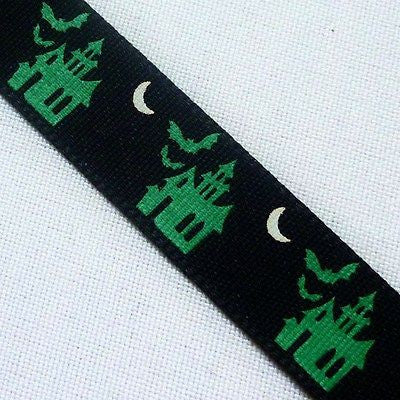 Black Polyester 15mm Ribbon with Green Haunted Houses (Per Metre)