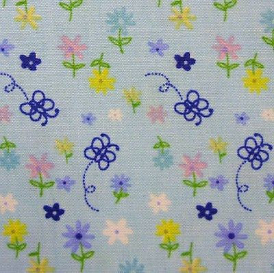 Blue 100% Cotton Small Flowers & Butterflies Fabric (Per Metre)